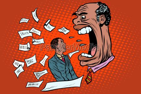 african boss yells at a subordinate