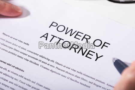 close up of power of attorney