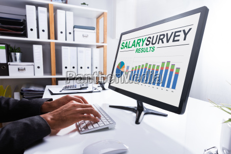 businessperson, analyzing, salary, survey, results, on - 23595226