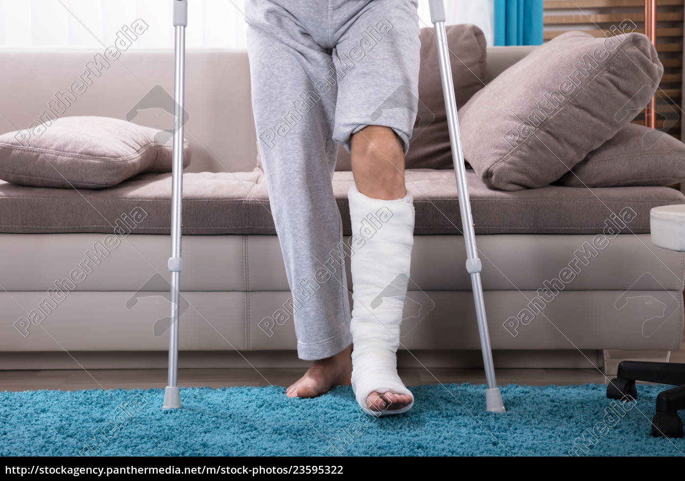 man, with, broken, leg, getting, up - 23595322