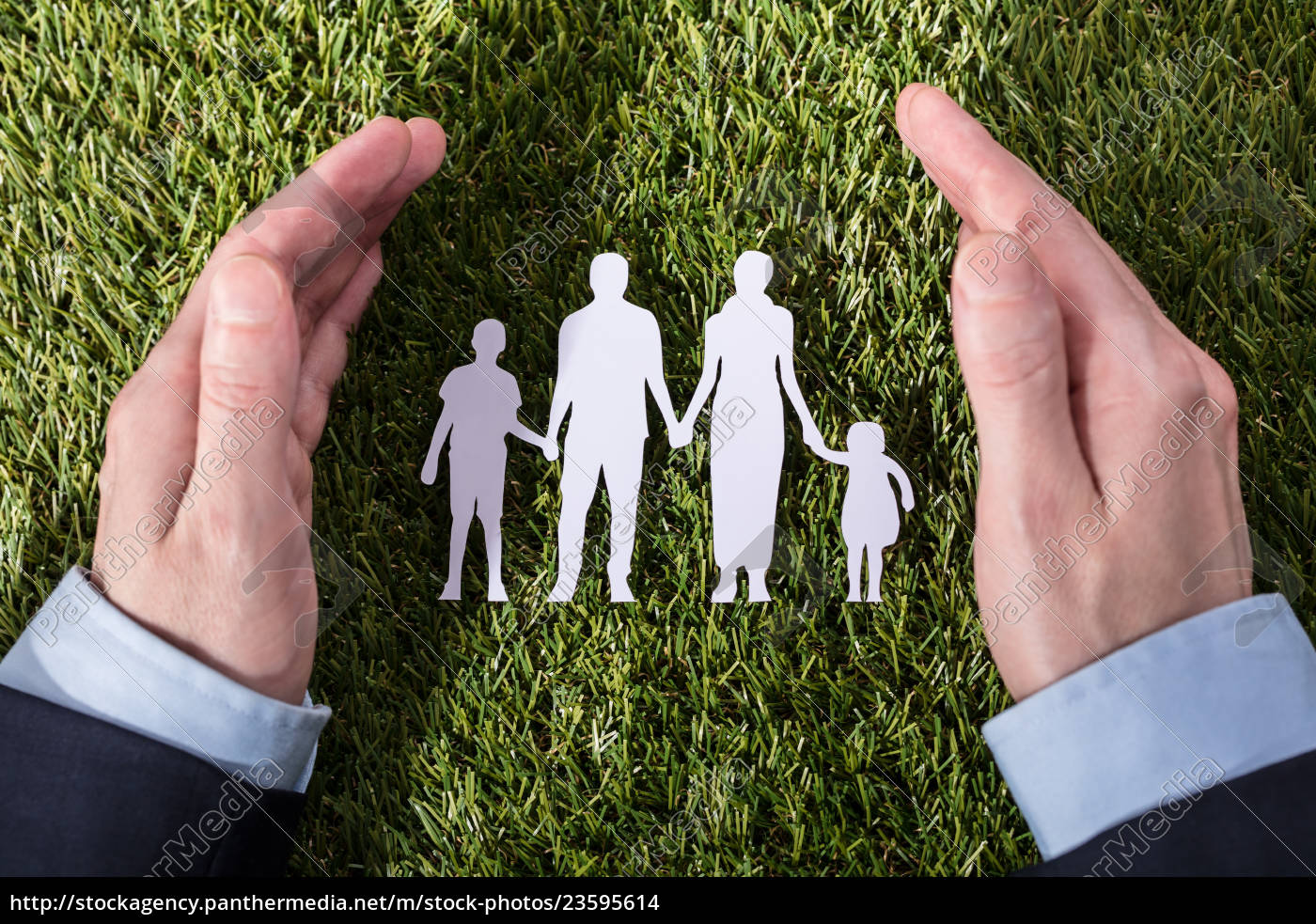 person, protecting, family, paper, cut, out - 23595614