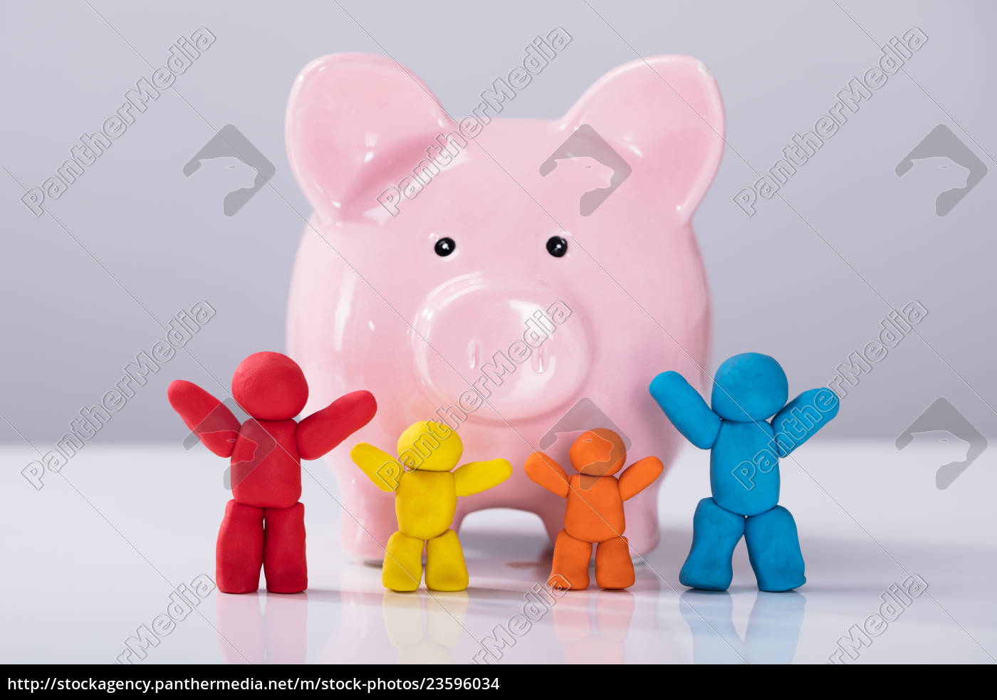 colorful, clay, family, in, front, of - 23596034