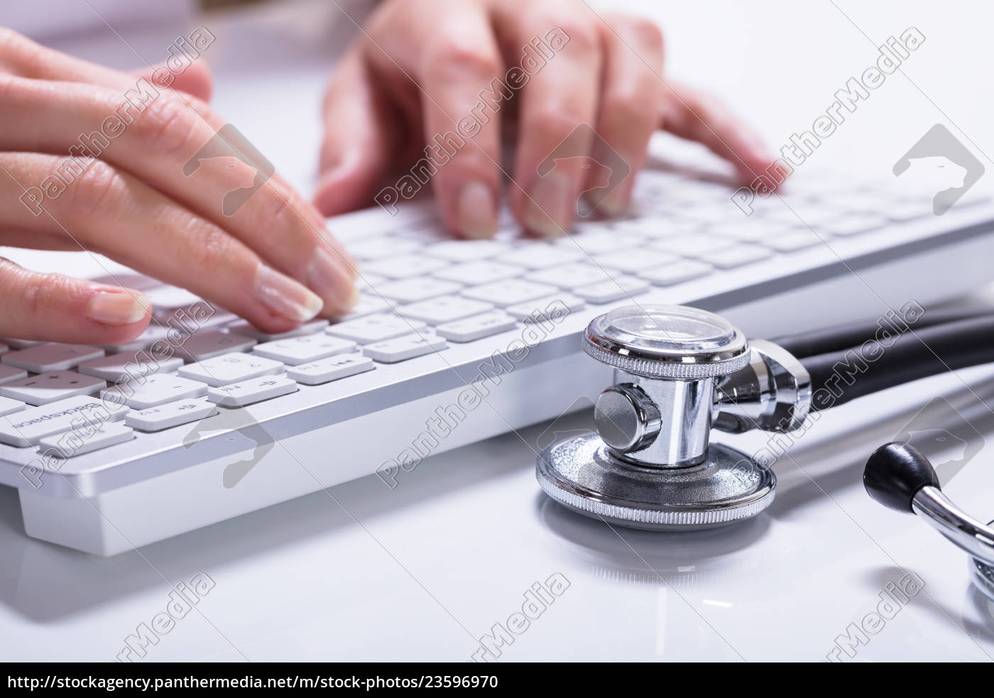 woman's, hand, typing - 23596970
