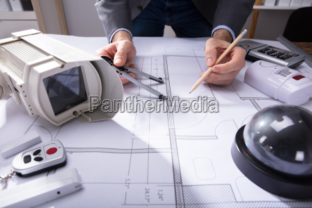 architect, drawing, plan, on, blueprint - 23597860