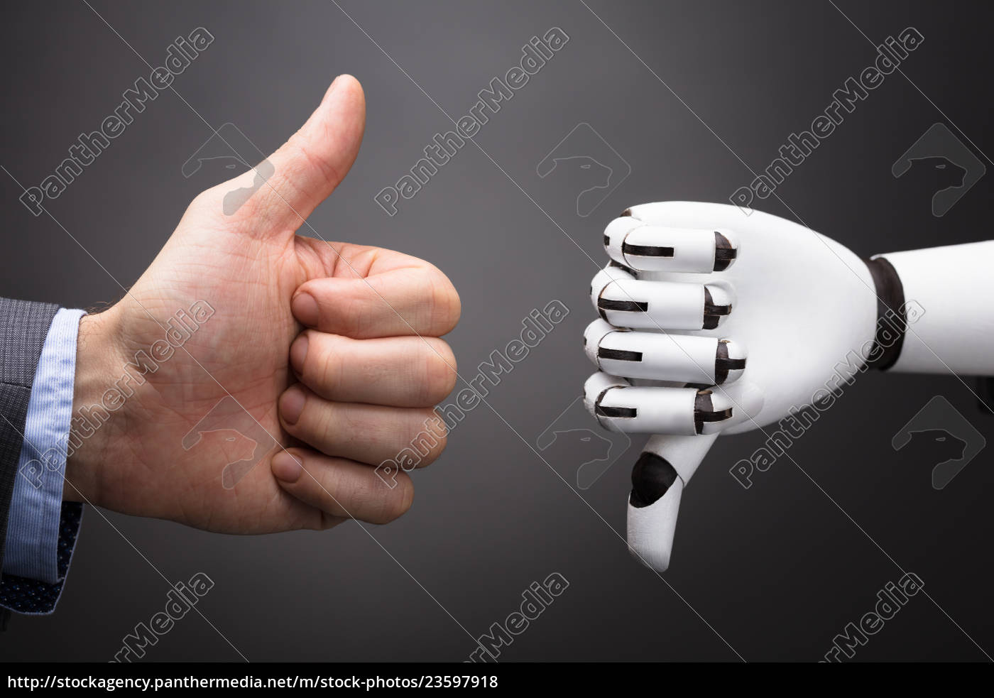 businessperson, and, robot, showing, thumb, up - 23597918
