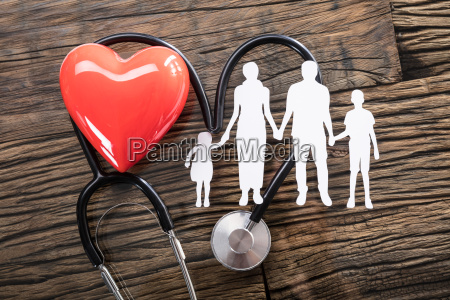 family, cut, out, and, red, heart - 23597766