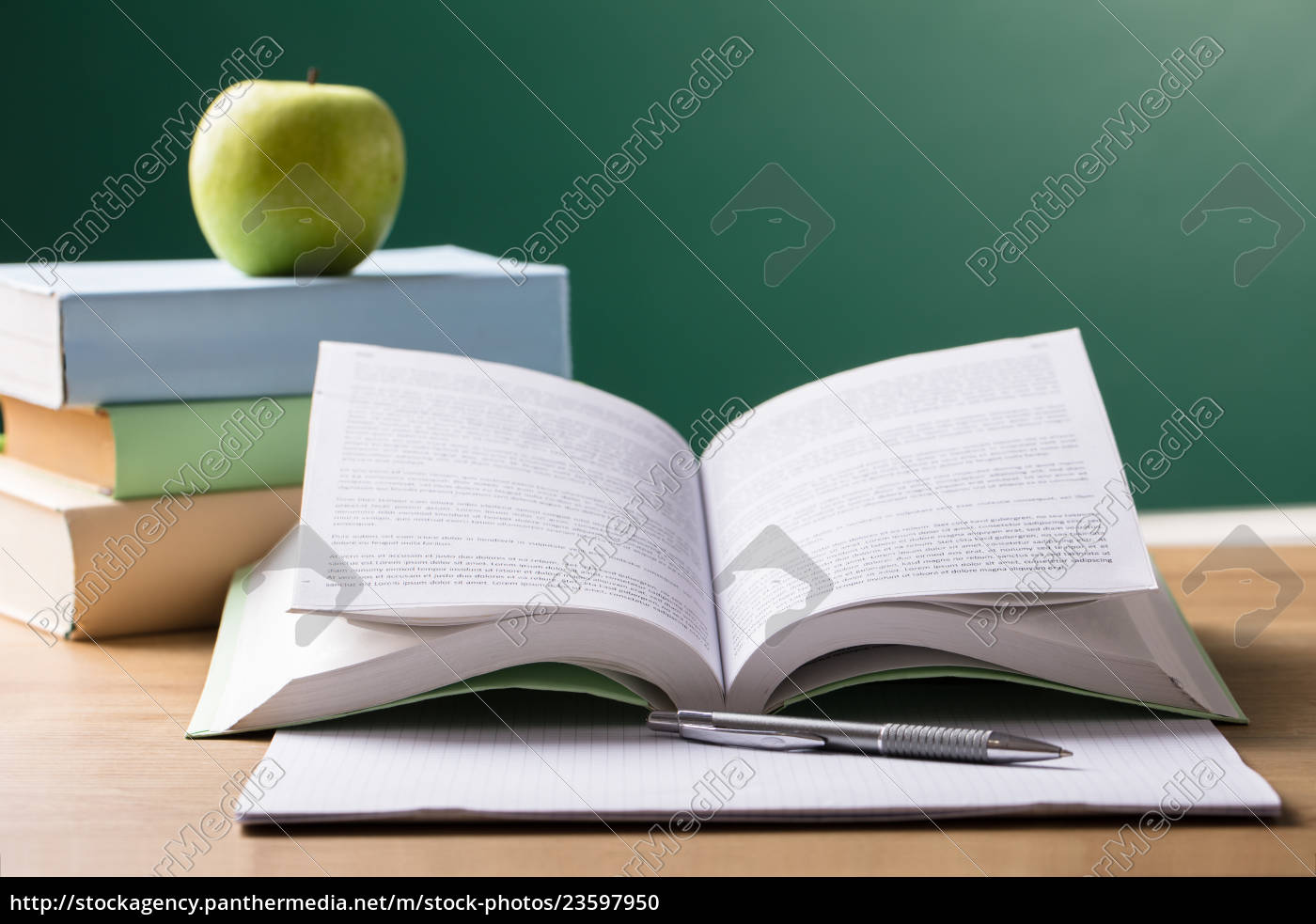 school, textbook, on, desk - 23597950