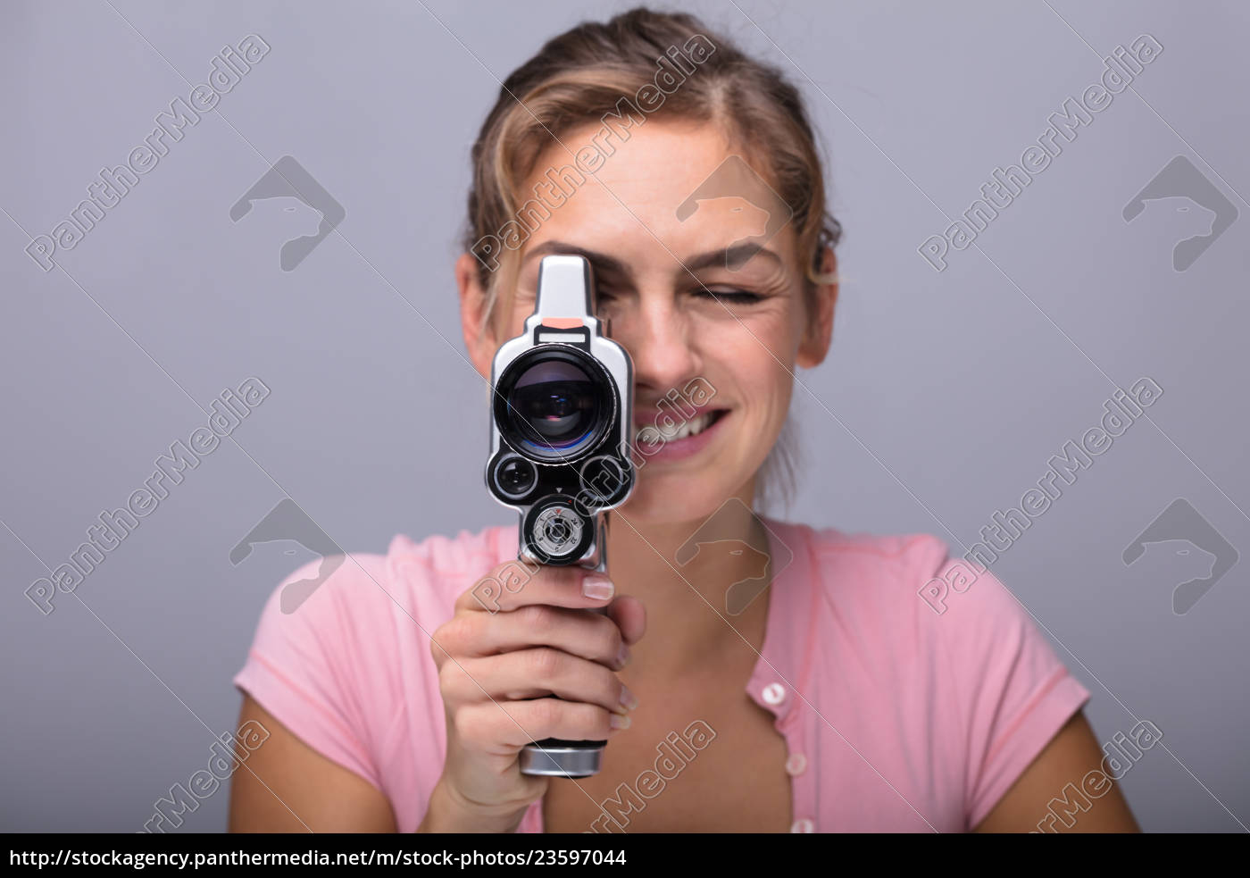woman, looking, through, lens, of, retro - 23597044