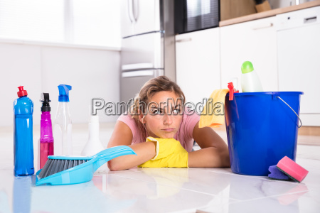 woman, lying, on, kitchen, floor, and - 23597072