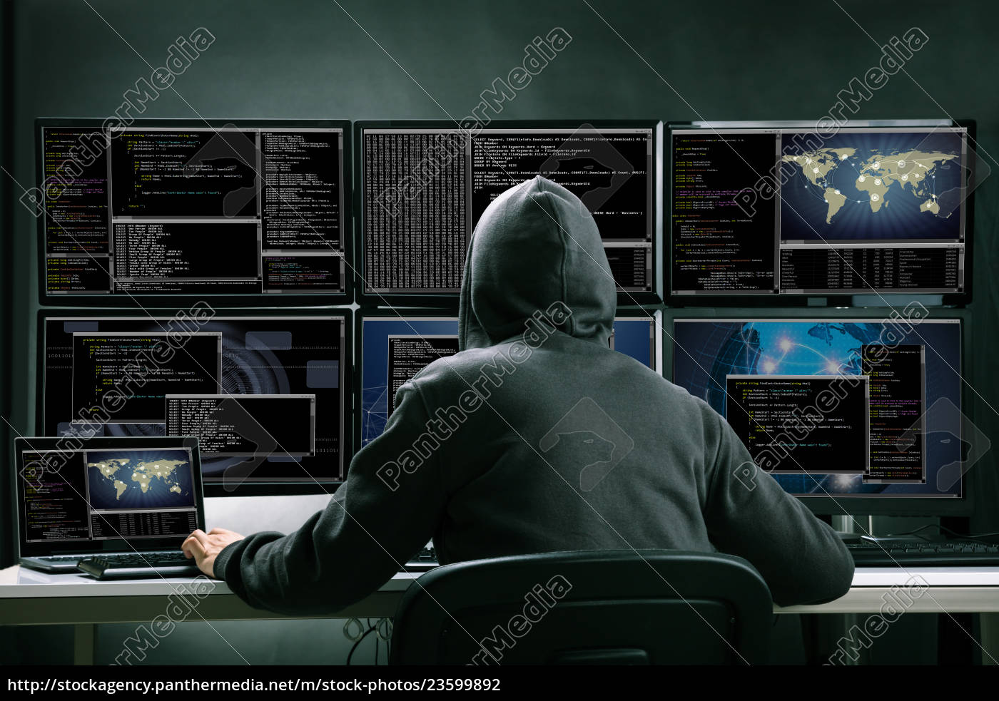 hacker, using, multiple, computers, for, stealing - 23599892