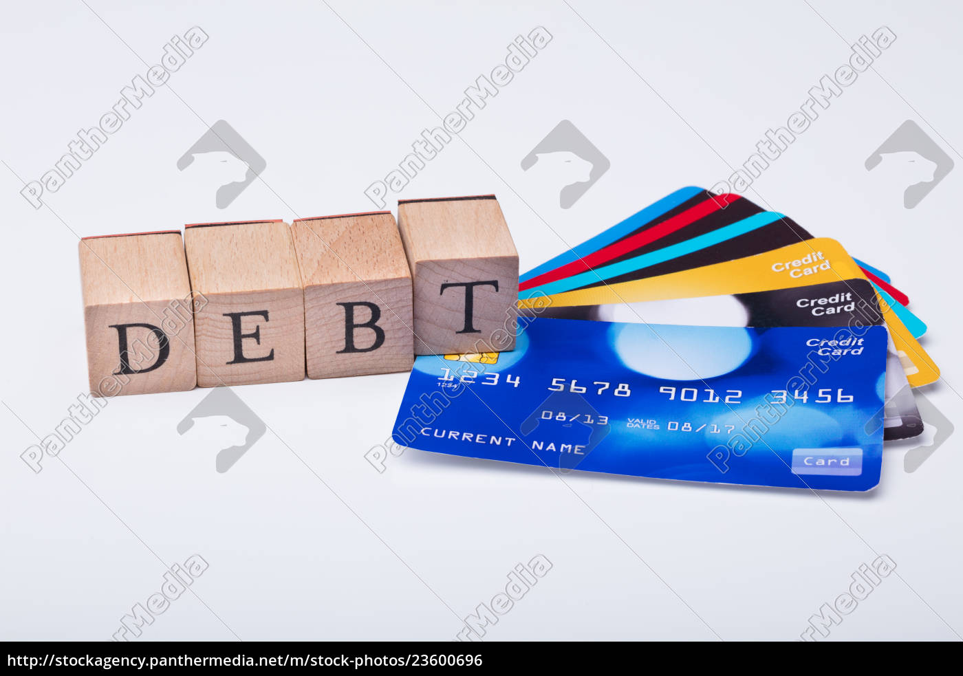 debt, card, and, debt, word, on - 23600696