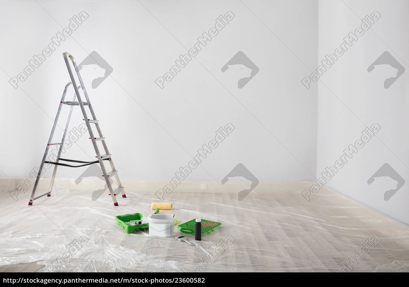 painted, white, room, with, ladder, and - 23600582