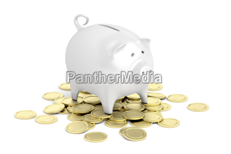 piggy, bank, and, coins - 23600254
