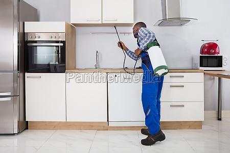 worker, spraying, pesticide, with, sprayer - 23600806