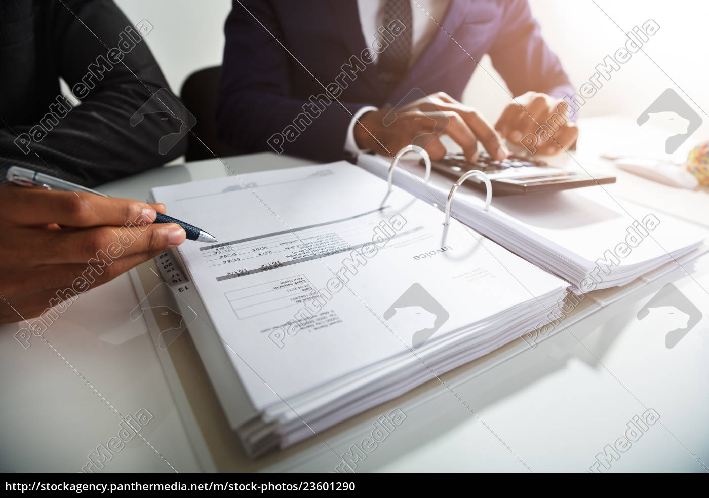 businessman, calculating, bills, using, calculator - 23601290