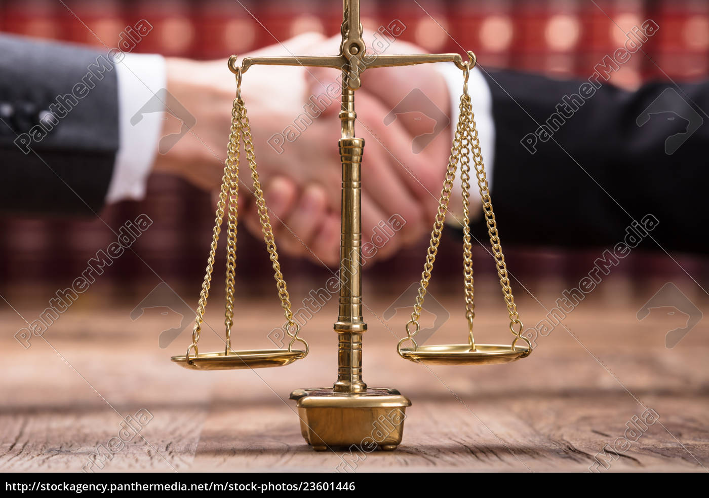 close-up, of, justice, scale, on, wooden - 23601446