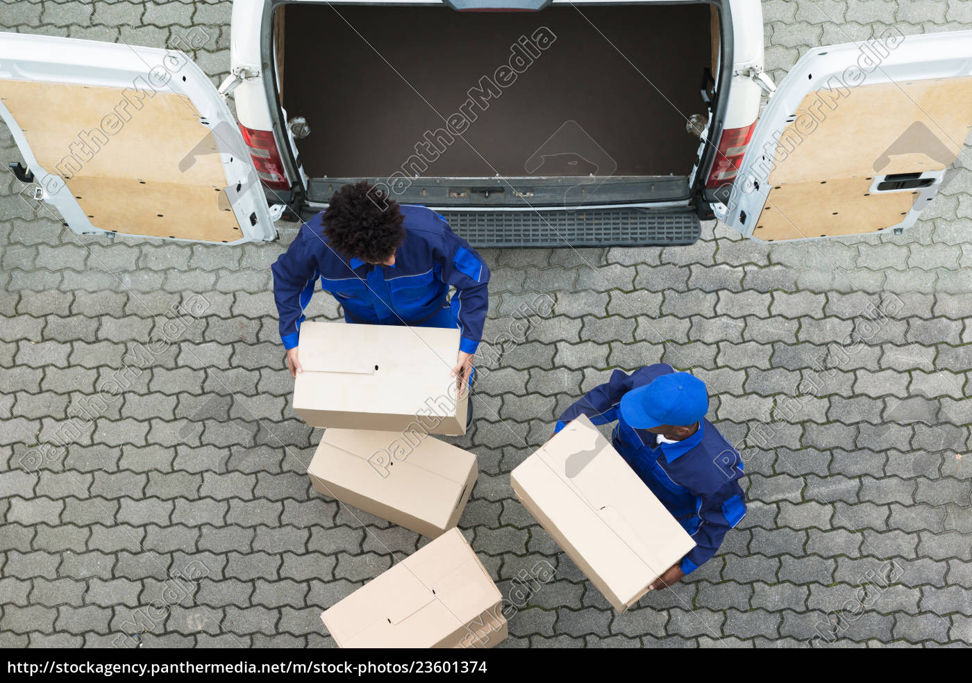 delivery, men, unloading, the, cardboard, boxes - 23601374