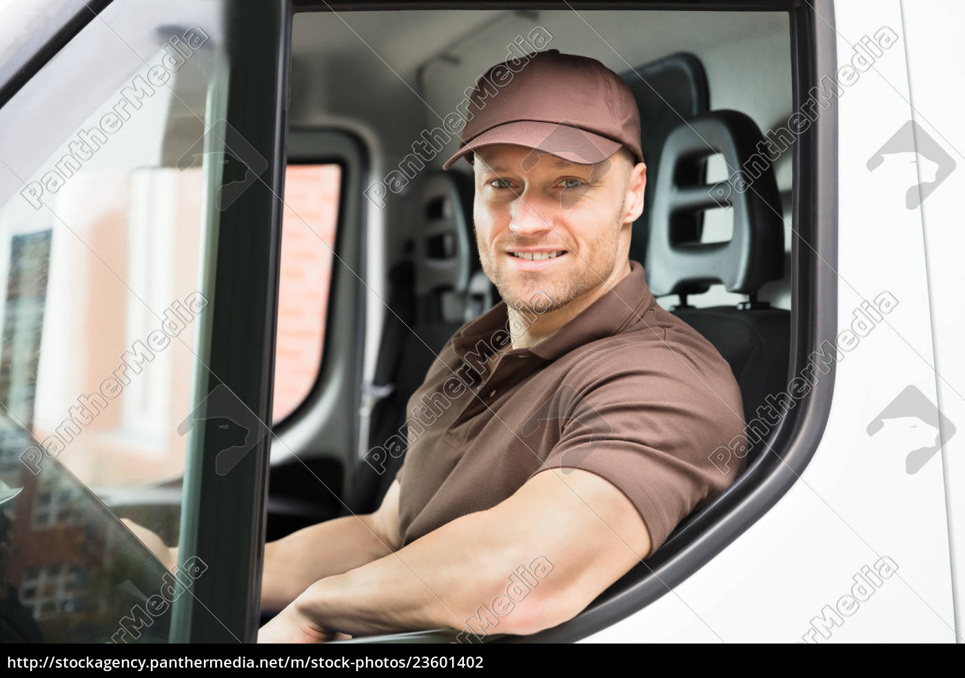 happy, delivery, man, sitting, inside, van - 23601402