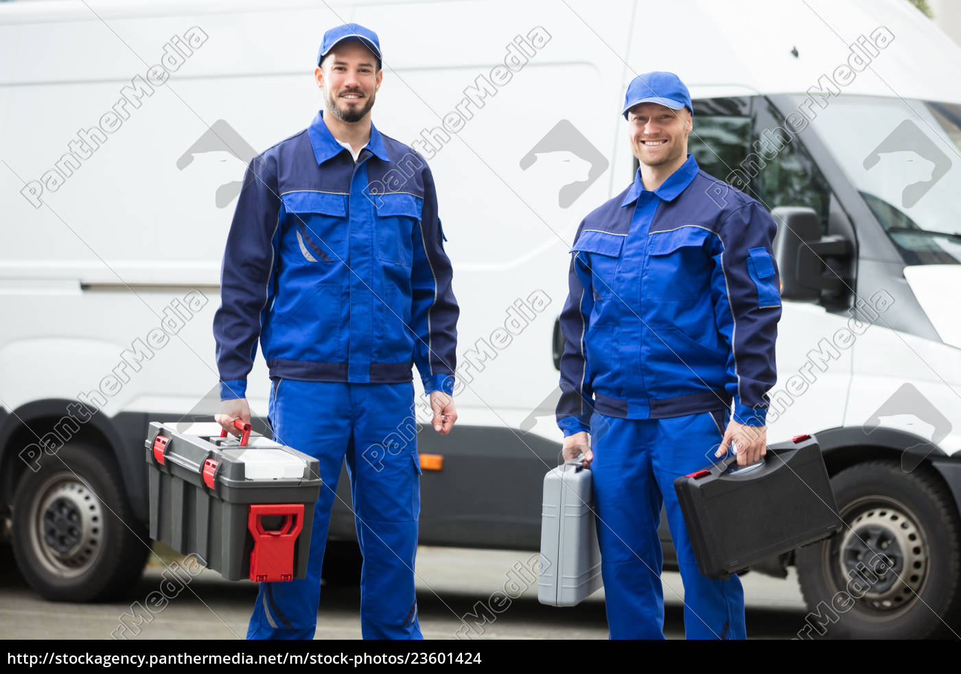 happy, male, workers, holding, toolboxes - 23601424