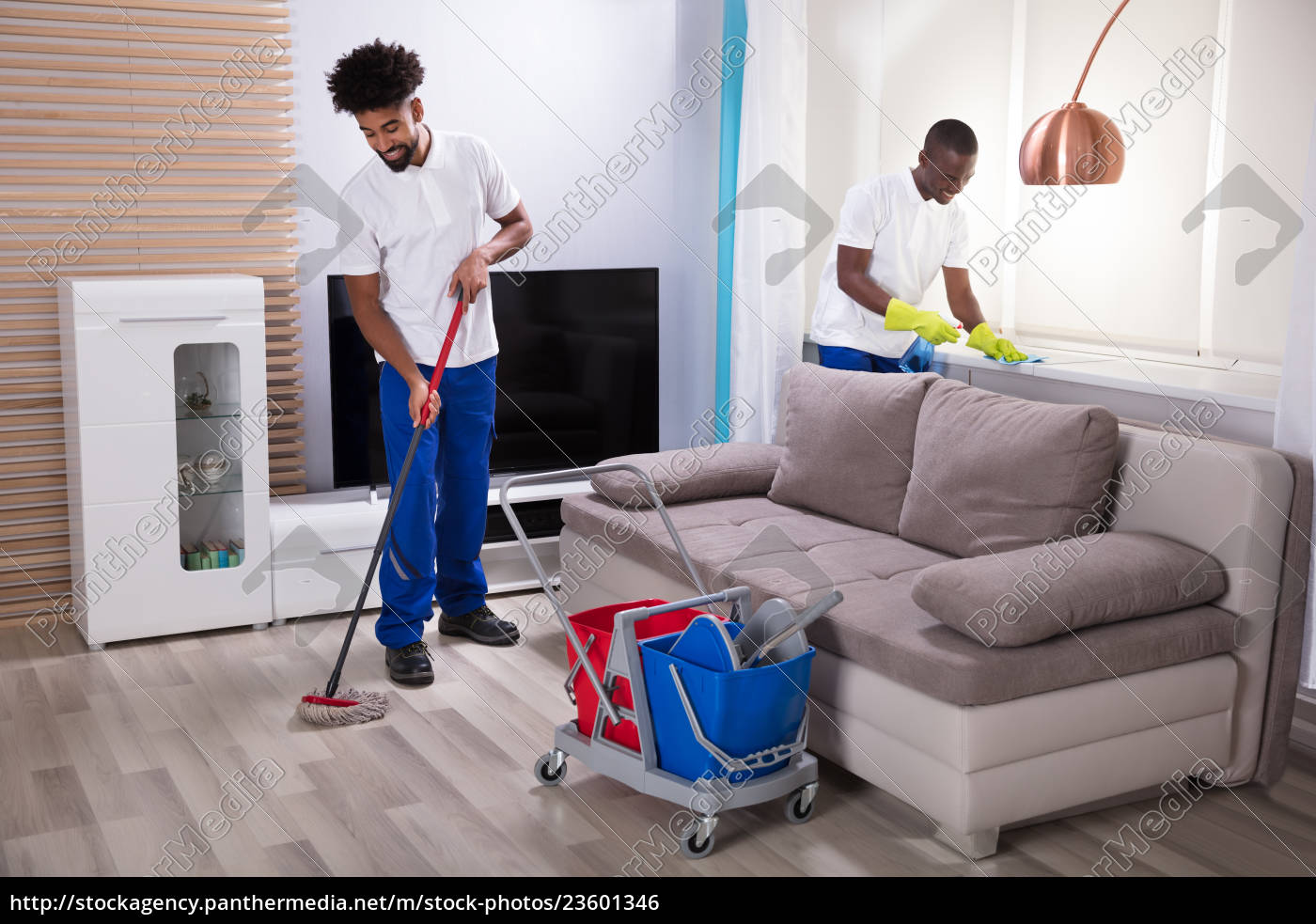 smiling, two, young, male, janitor, cleaning - 23601346