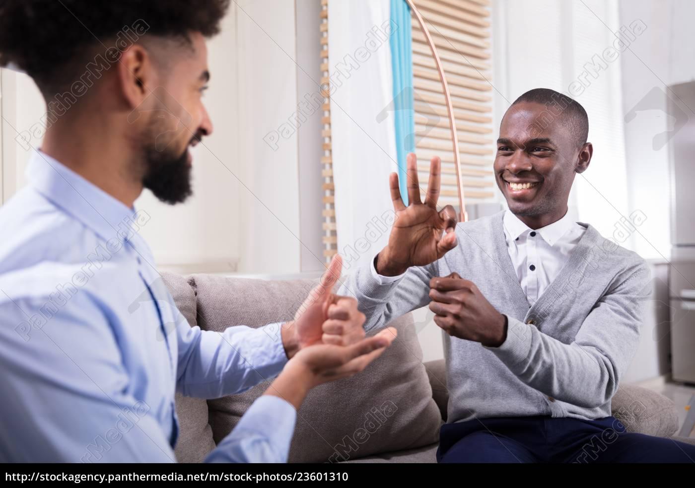 two, happy, men, making, sign, language - 23601310