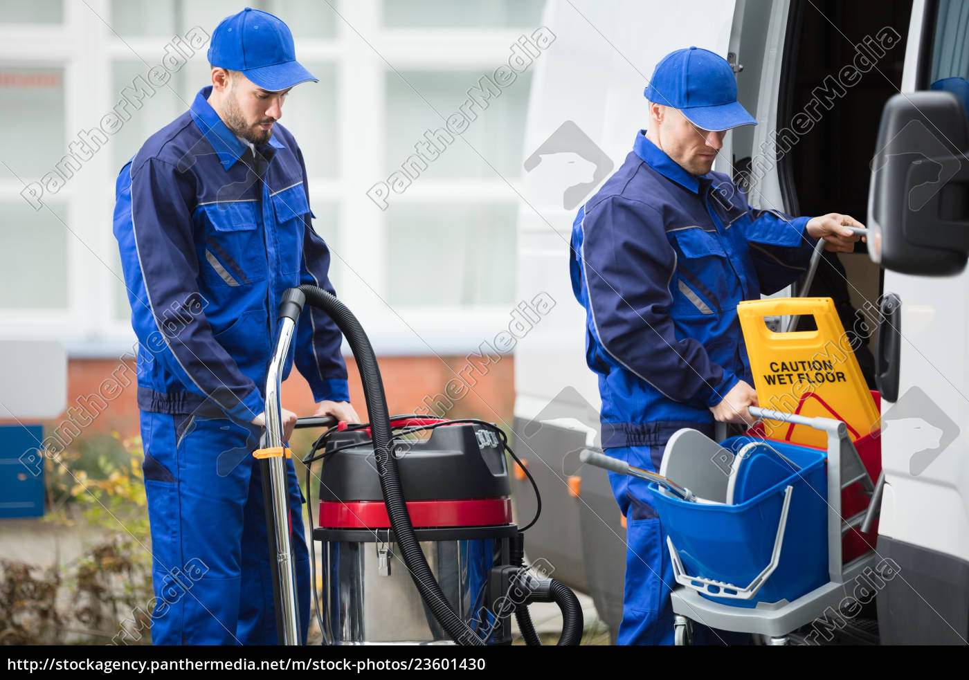 two, male, janitor, unloading, cleaning, equipment - 23601430