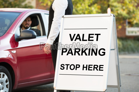 valet, parking, text, on, white, board - 23601442