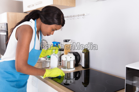 housewife, cleaning, induction, stove - 23602184