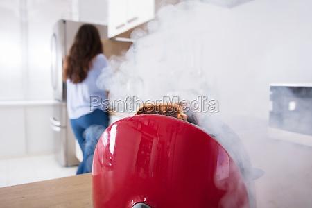 smoke, emitting, through, burnt, toast, coming - 23603644