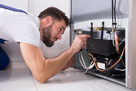 technician, repairing, refrigerator - 23603462