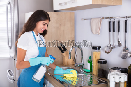 woman, cleaning, kitchen, sink, with, yellow - 23603682
