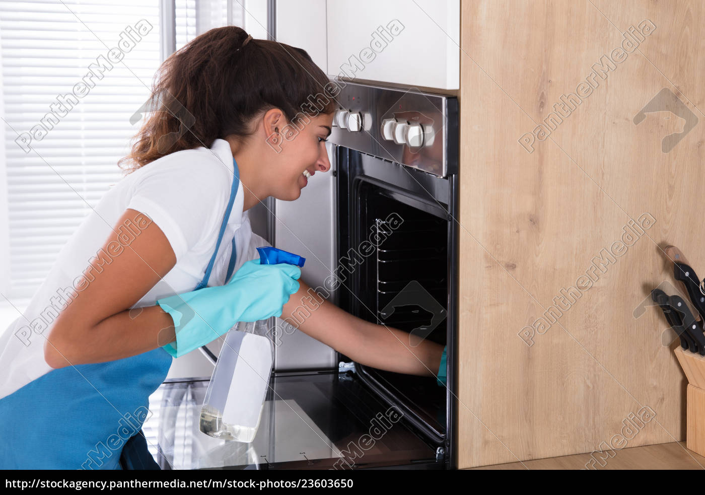woman, in, protective, gloves, cleaning, oven - 23603650