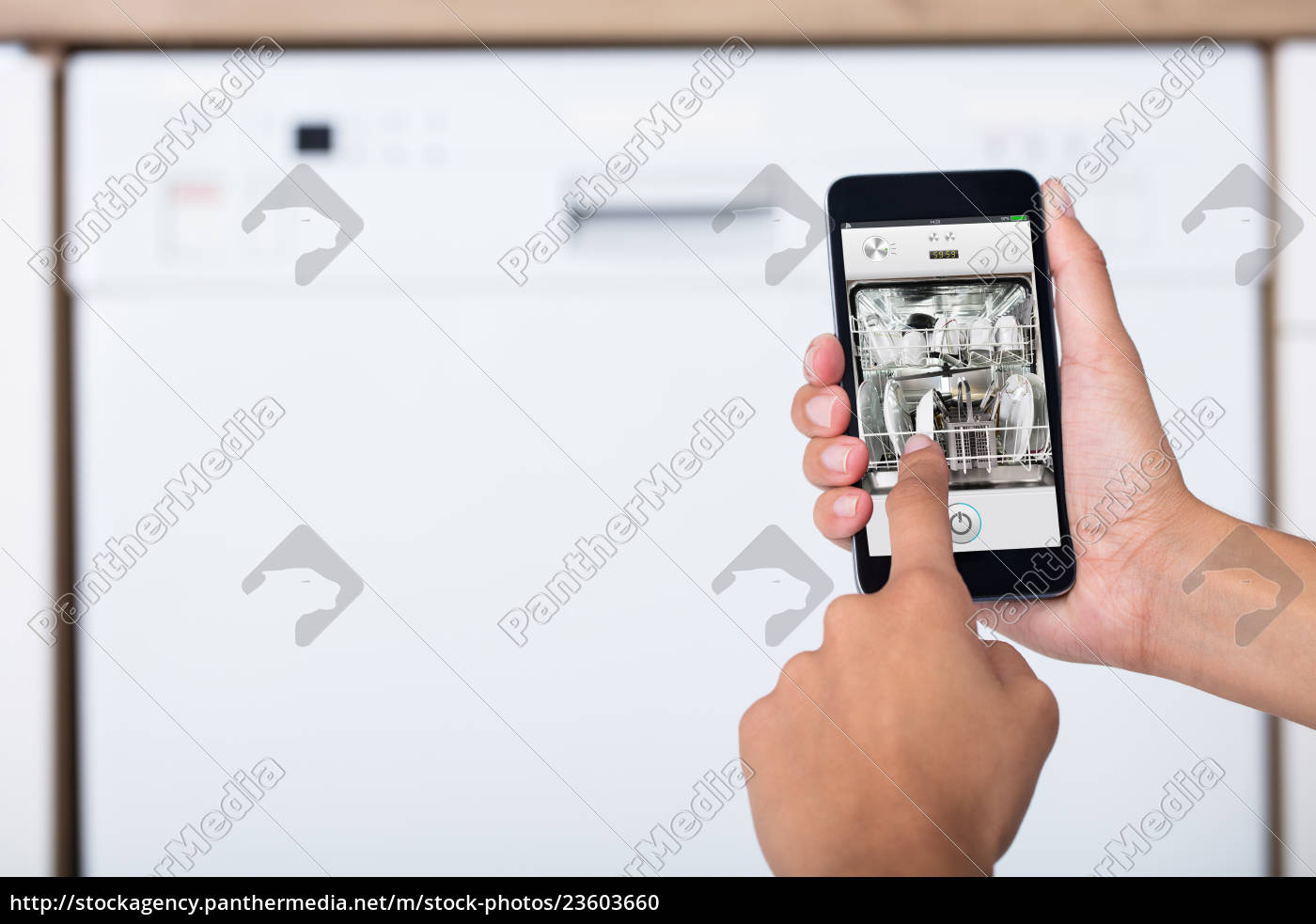 woman's, hand, showing, dishwasher, app - 23603660