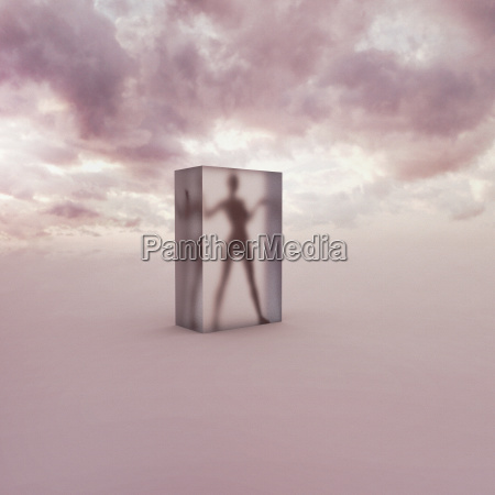 person frozen in suspended animation in