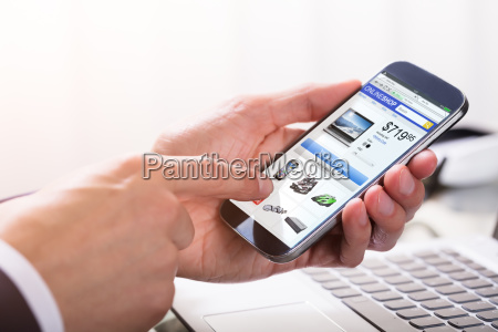 businessperson, shopping, online, on, smartphone - 23610480