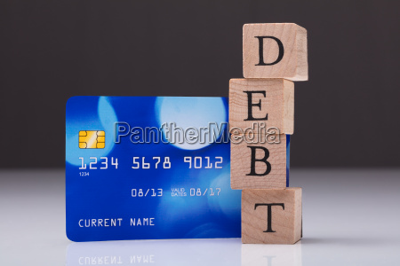 debt card and debt word on
