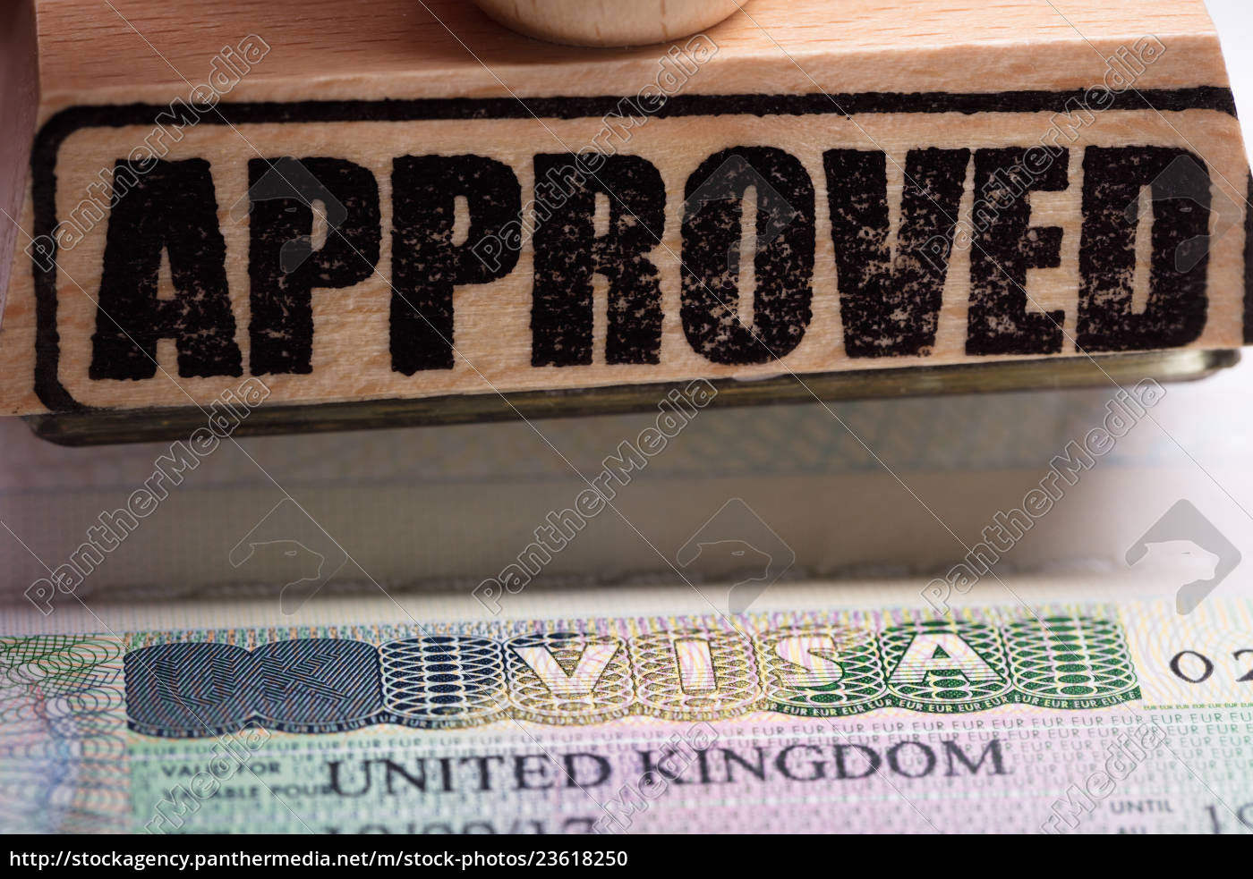 approved, stamp, and, uk, visa - 23618250