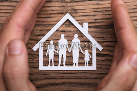 person, holding, protective, hand, on, family - 23618214
