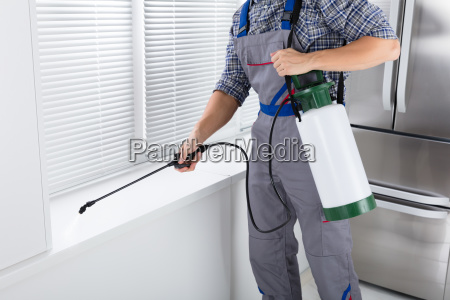worker, spraying, insecticide, on, windowsill - 23618080