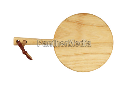 round wooden cutting board isolated on