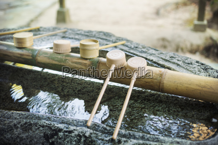 close up of bamboo water hand