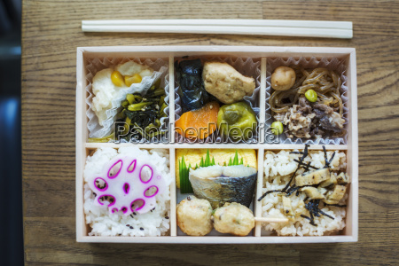 high angle close up of bento