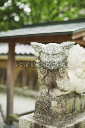 close up of japanese stone sculpture