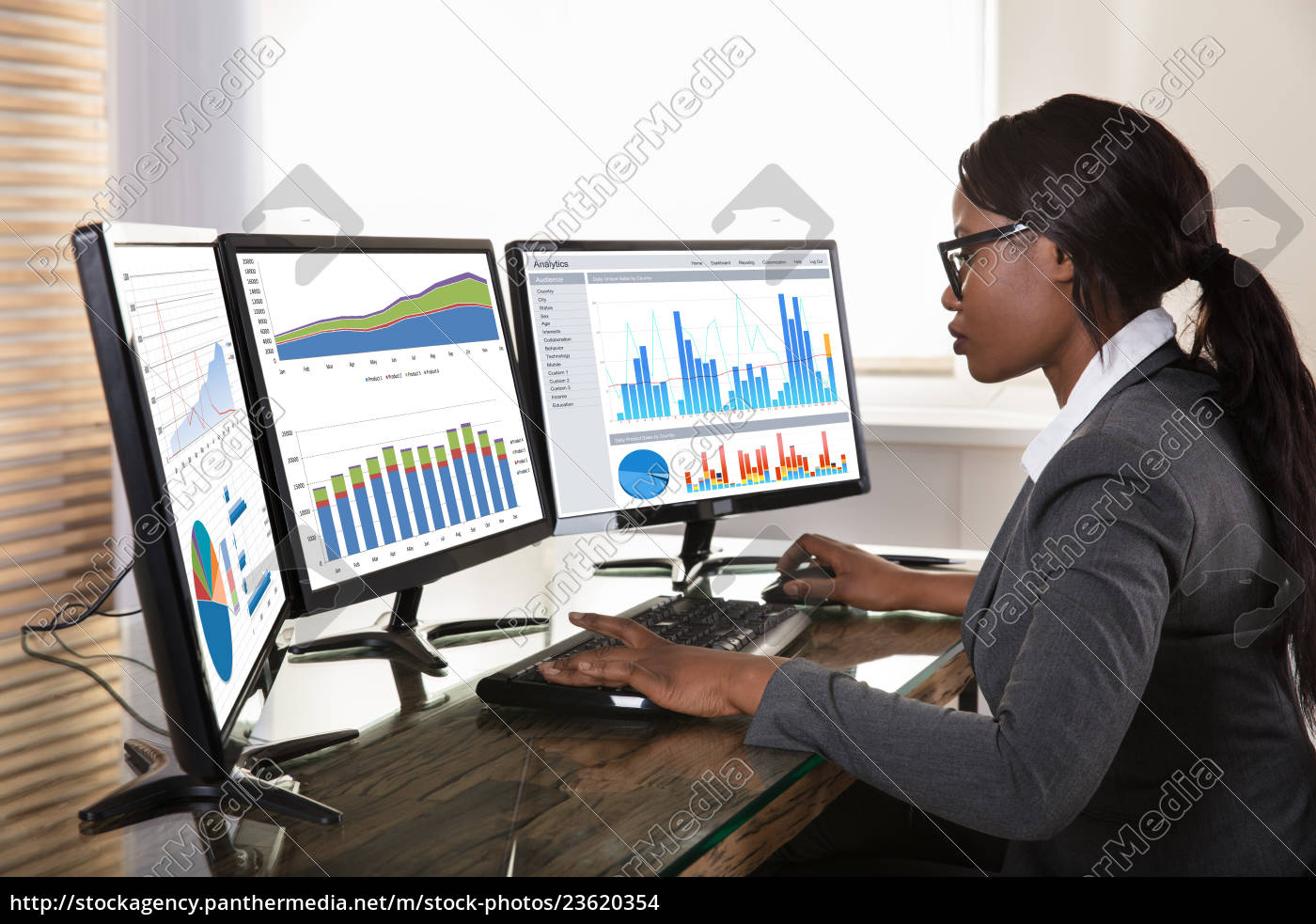 businesswoman, looking, at, graphs, on, computer - 23620354