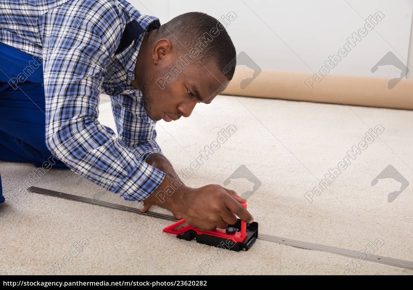 craftsman, installing, carpet, on, floor - 23620282