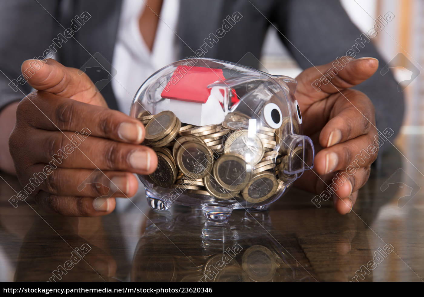 human, hand, protection, piggy, bank, with - 23620346
