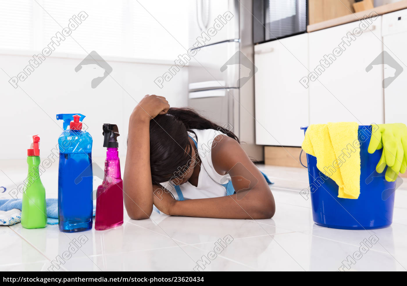 woman, lying, on, kitchen, floor, with - 23620434