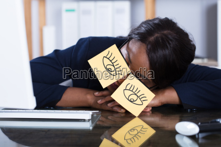 woman, sleeping, with, eyes, drawn, on - 23620382