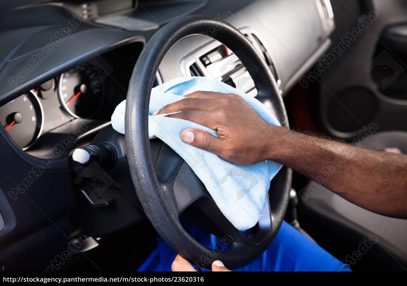 worker, cleaning, car, steering, wheel - 23620316