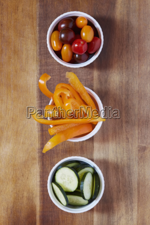 yellow pepper tomatoes and cucumber